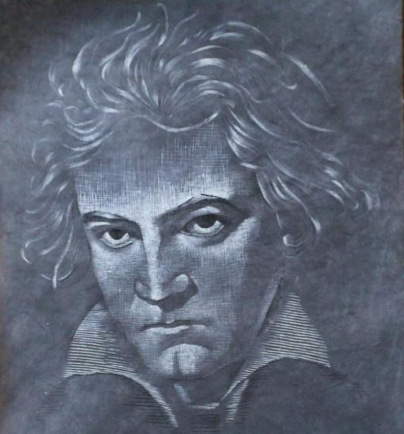 Beethoven - Tusche auf geschöpftem Papier, 49x75 cm, 1400 €