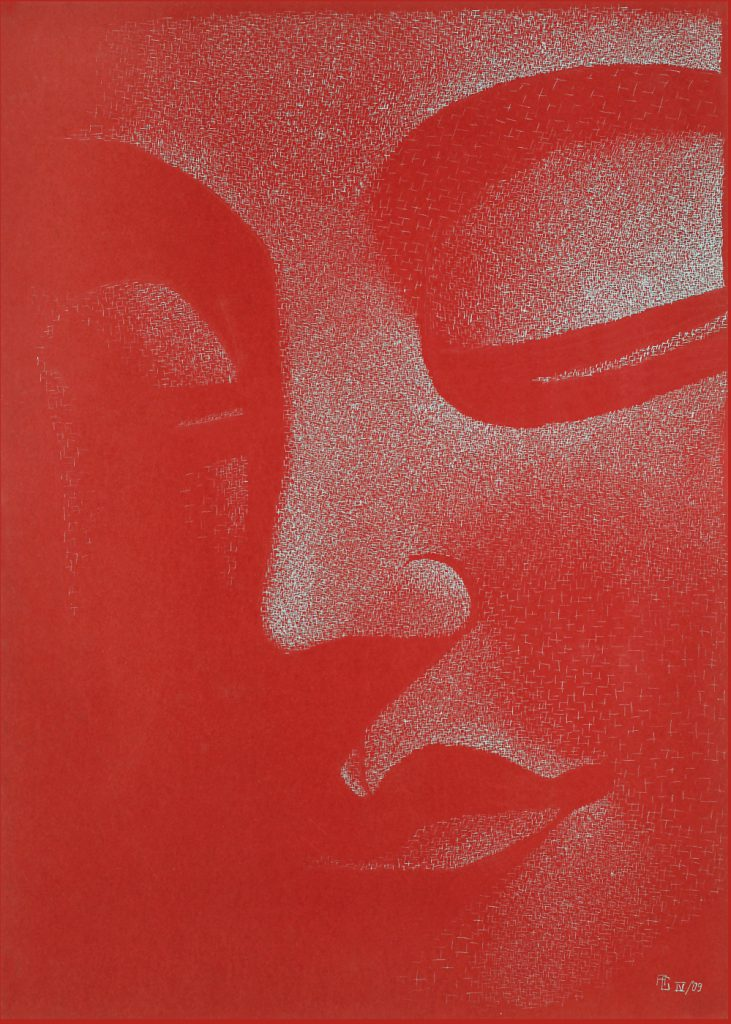 Buddha Profil - Tusche auf Fotokarton, 50x70 cm, 900 €