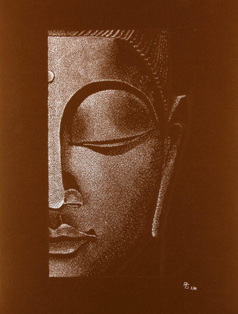 Buddha halb - Tusche auf Fotokarton, 50x70 cm, 900 €