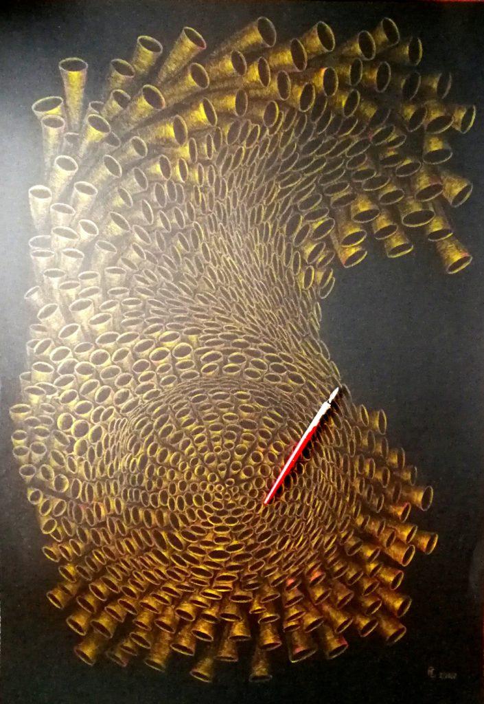 Die Welle, Tusche auf Fotokarton70x100cm