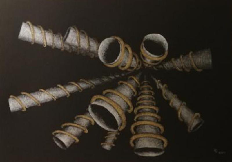 Laut - Tusche auf Zeichenpapier, 84x75 cm, 650 €