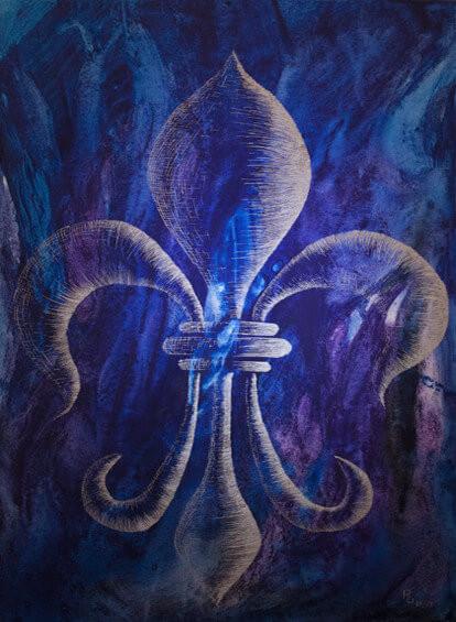 Lilie-auf-Blau-Acryl-und-Tusche-auf-Leinwand-50x70cm