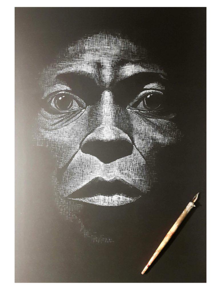 Miles D. - Tusche auf Fotokarton, 36x50 cm, 600 €