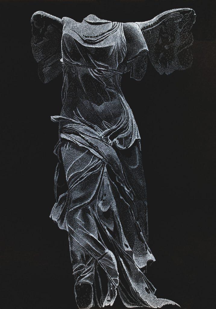 Nike weiß - Tusche auf Fotokarton 70x100 cm