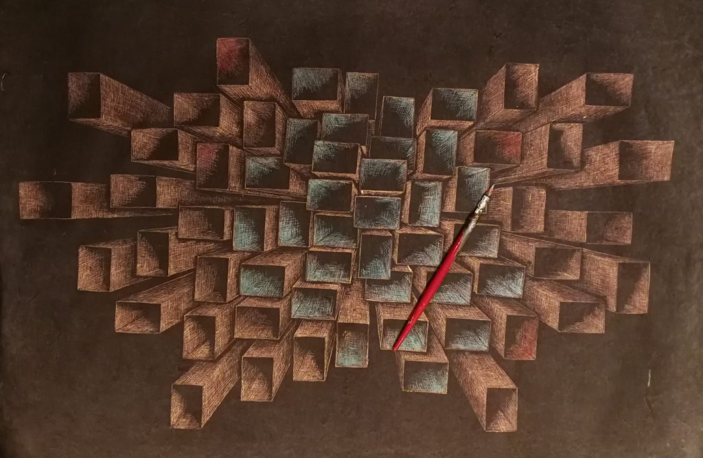 Quadrate - Tusche auf geschöpftem Papier - 70x40cm