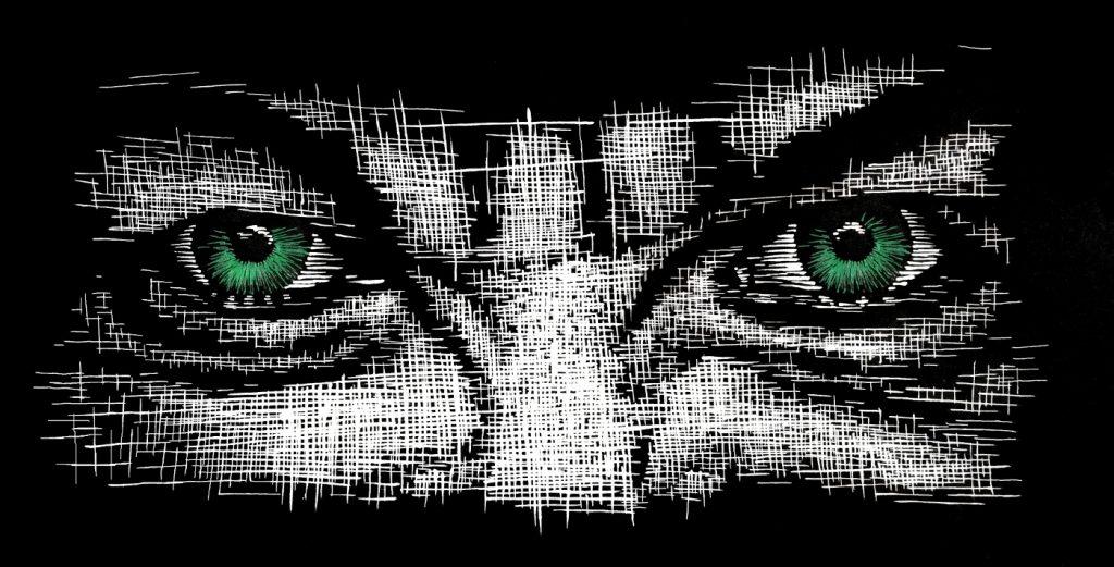 Wut - Tusche auf Fotokarton, 20,5x40,5 cm